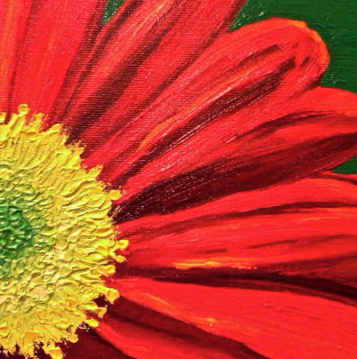 Red Daisy; 6x6 oil on canvas; SOLD