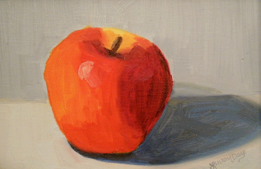 An Apple a Day; 5x7 oil on canvas; SOLD