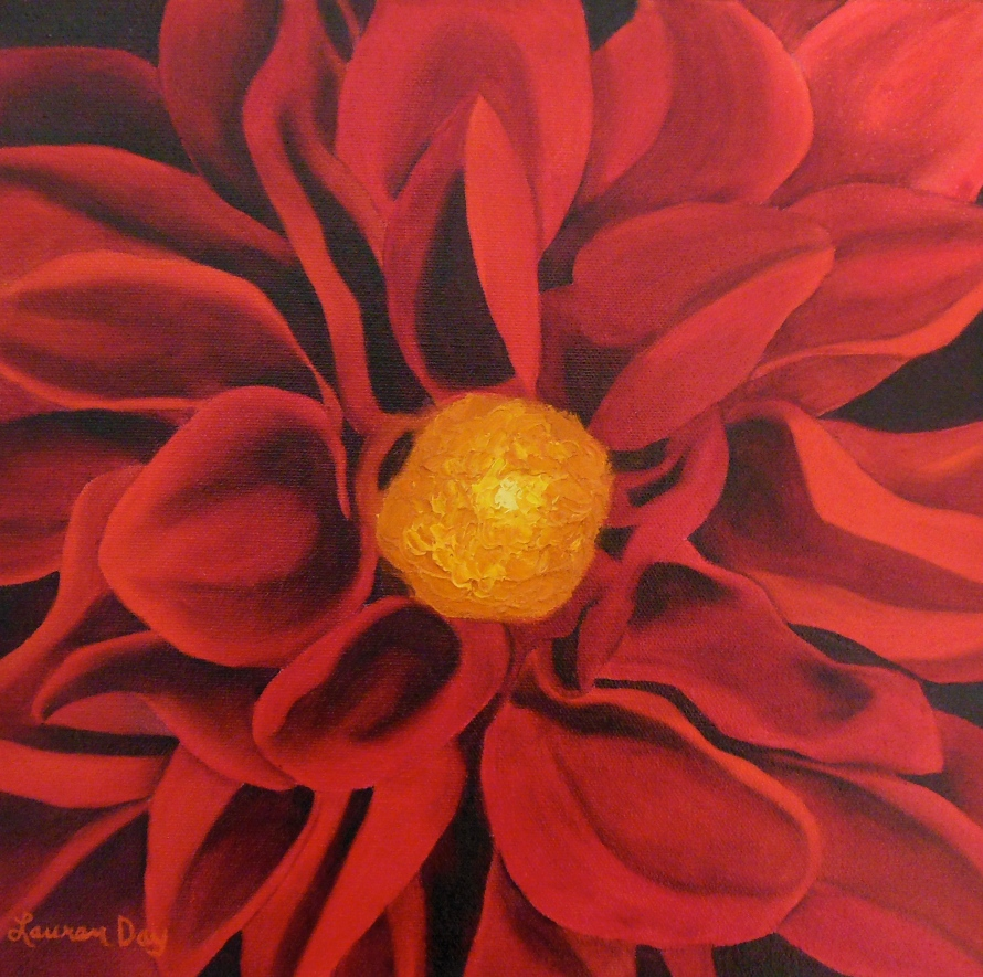 Red Dahlia; 12x12 oil on canvas; private collection