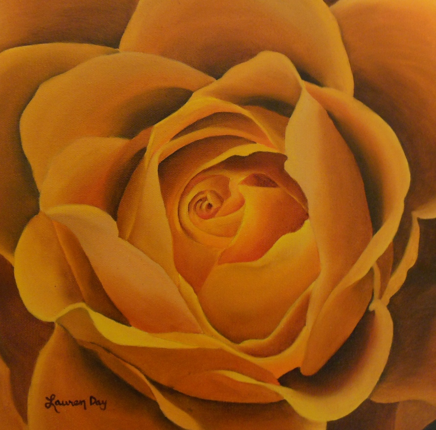Orange Rose; 12x12 oil on canvas; private collection