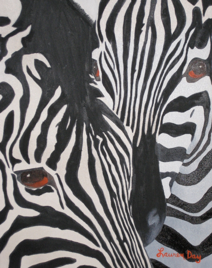 Zebras; 16x20 oil on canvas; SOLD