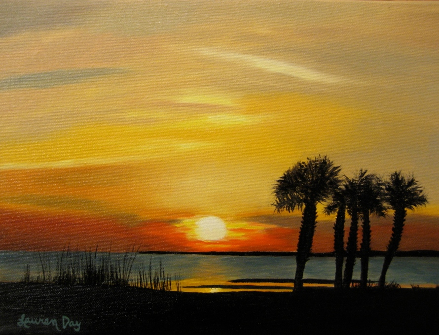 St. George Island Sunset; 8x10 oil on canvas; SOLD