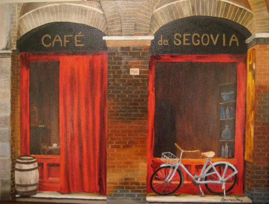 Cafe de Segovia; 18x24 oil on canvas; private collection