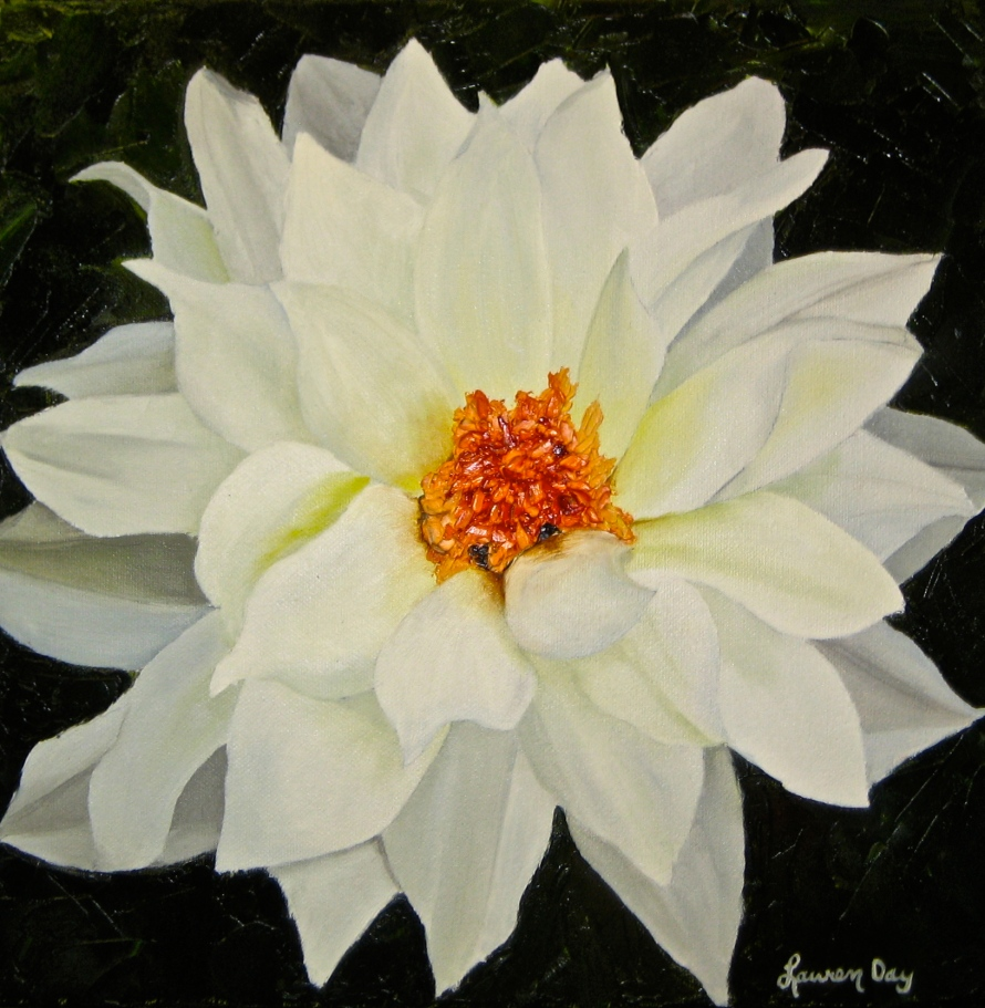 White Dahlia; 12x12 oil on canvas; commission piece