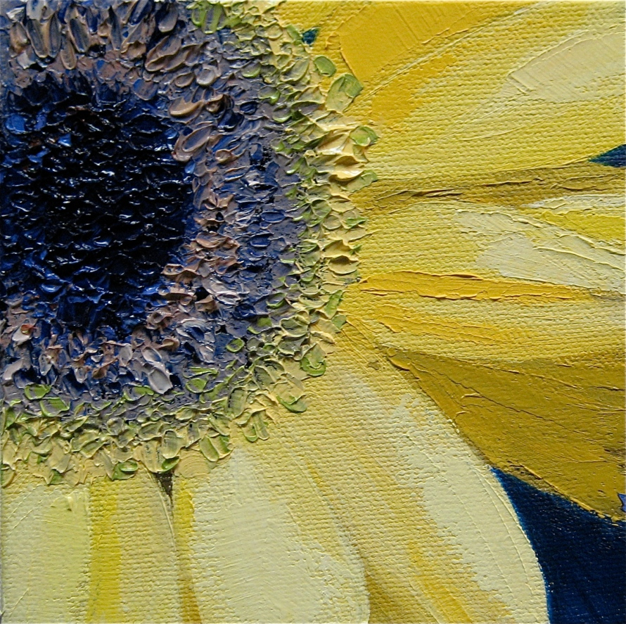 Yellow Daisy; 5x5 oil on canvas; private collection