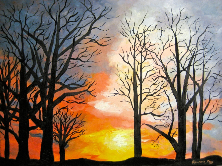 Winter Sunset; 18x24 oil on canvas; SOLD