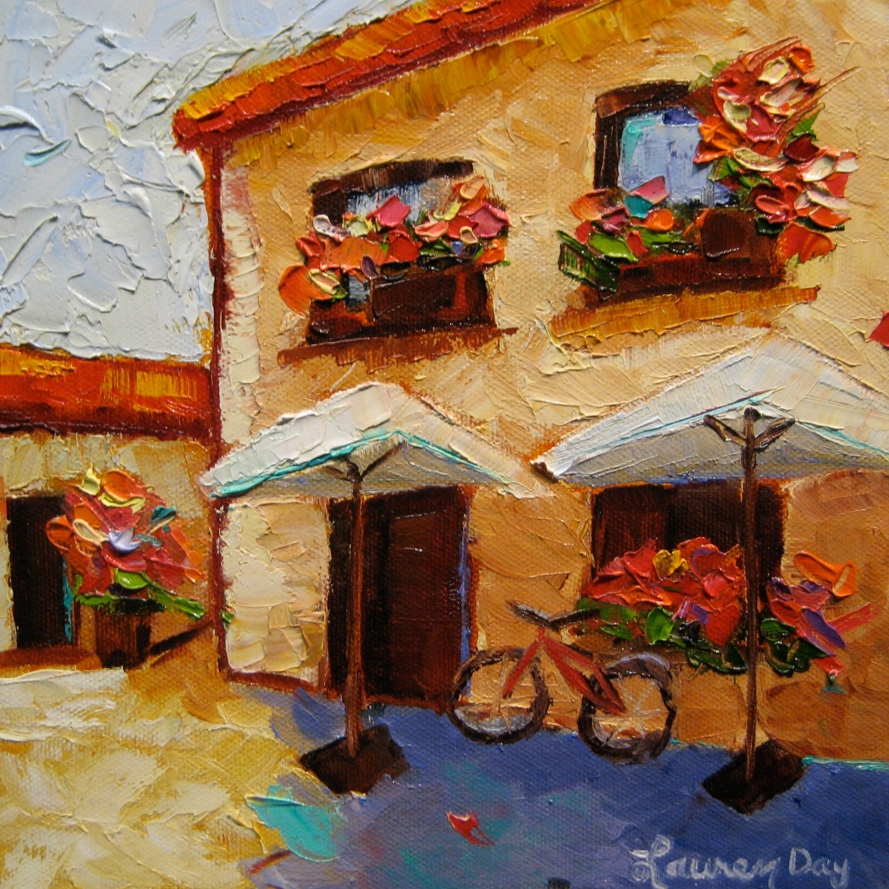 Cafe de Pedraza; 8x8 oil on canvas; SOLD