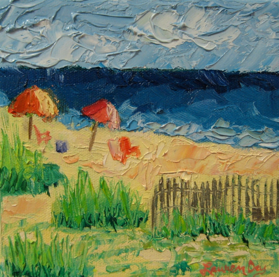 A Day at the Beach; 6x6 oil on canvas; SOLD