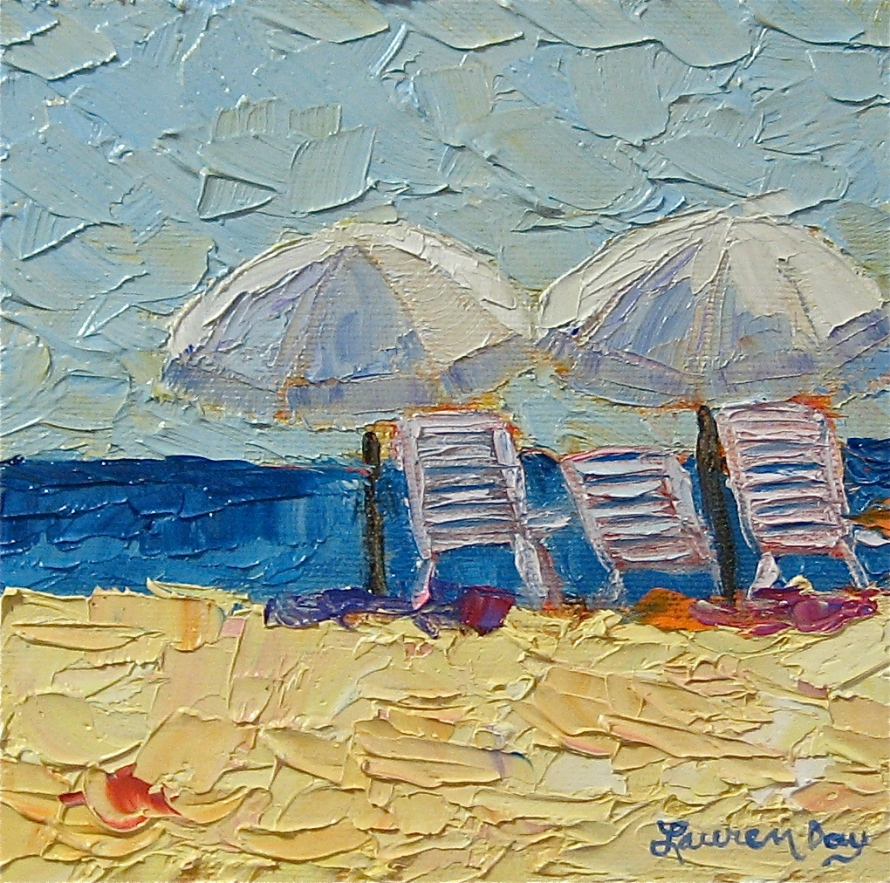 Beach Fever; 6x6 oil on canvas; SOLD