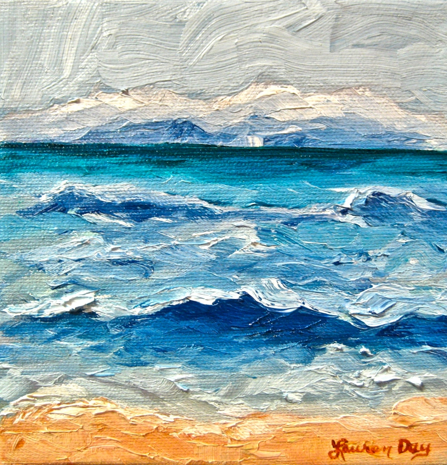 Waves; 6x6 oil on canvas; private collection