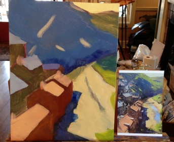 After sketching in the painting, I added in big massed in shapes of color.