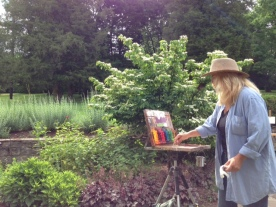 Carole painting a demo on Day Two