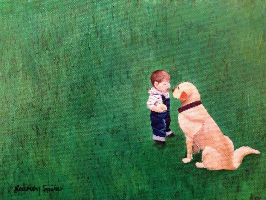 A Boy and His Dog; 6x8 oil on canvas panel; private collection