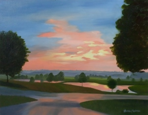Christmasville Hwy Sunset; 11x14 oil on canvas panel