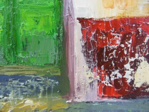 This painting has lots of texture - a result of using a palette knife.