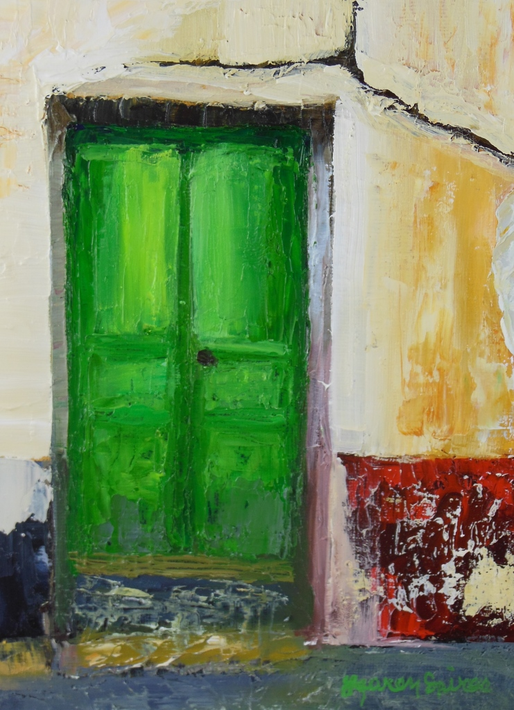 Green Door; 6x8 oil on canvas panel