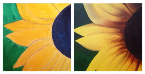 lauren spires fine art_sunflower painting in progress 1