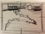 My thumbnail sketch with darks shaded in.