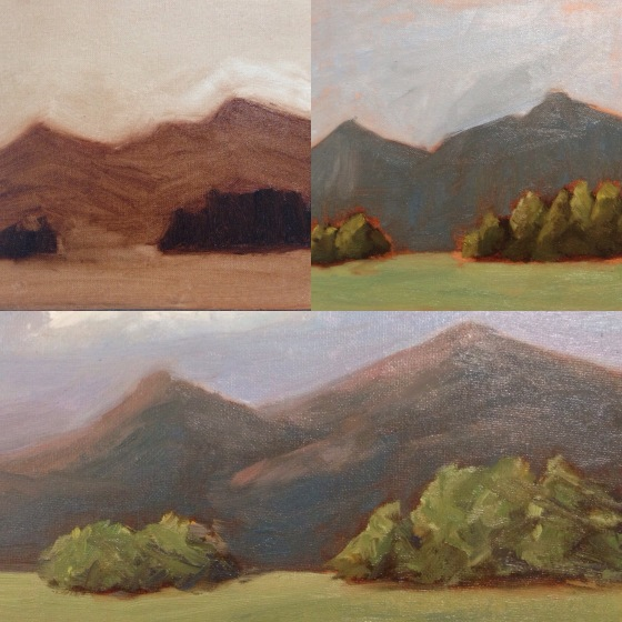 My painting progression - clockwise: start with a correct-value monochromatic wash, then  true colors are added, finally light patterns are added.