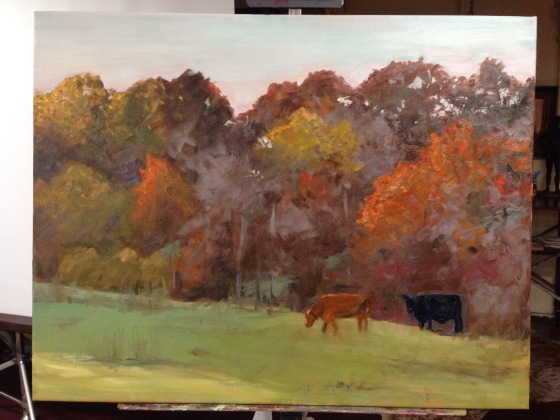 My nearly finished painting. Roger suggested a few changes - more light holes and tree trunks, highlights on the cows and softer edges around the tops of the trees.