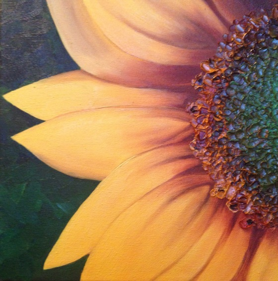 lauren spires fine art_sunflower painting in progress