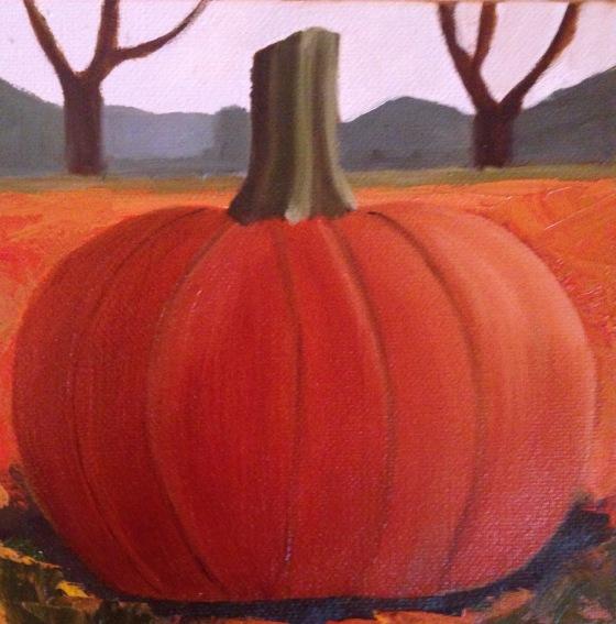 lauren spires fine art_pumpkin painting in progress