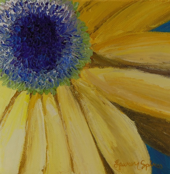 lauren spires fine art_yellow gerber daisy_6x6 oil painting