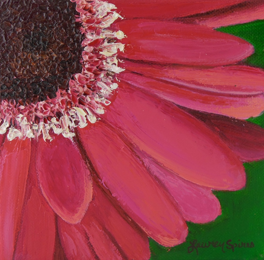 Pink Daisy III; 6x6 oil on canvas