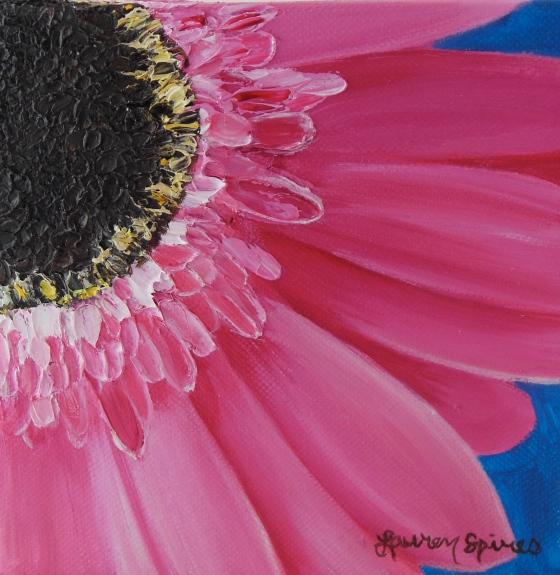 lauren spires fine art_pink gerber daisy_6x6 oil painting