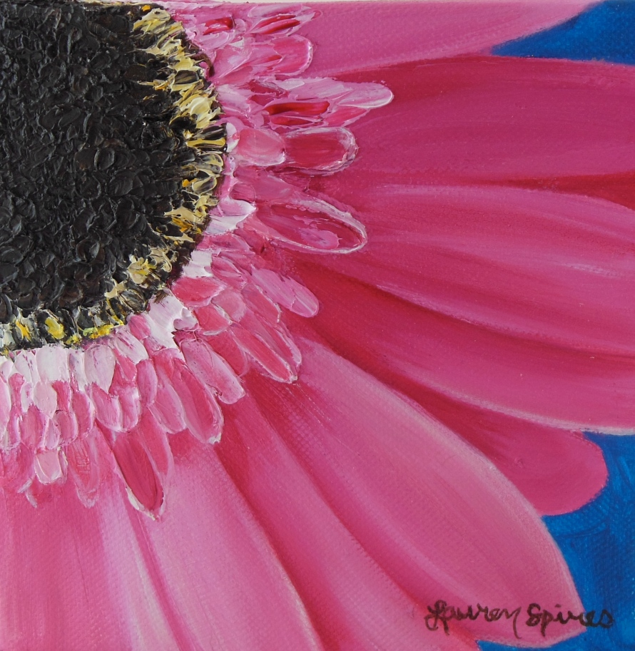 Pink Daisy II; 6x6 oil on canvas