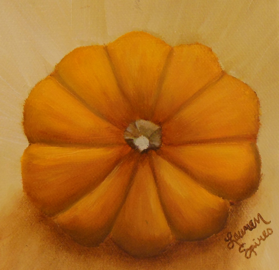 Pumpkin VII; 5x5 oil on canvas