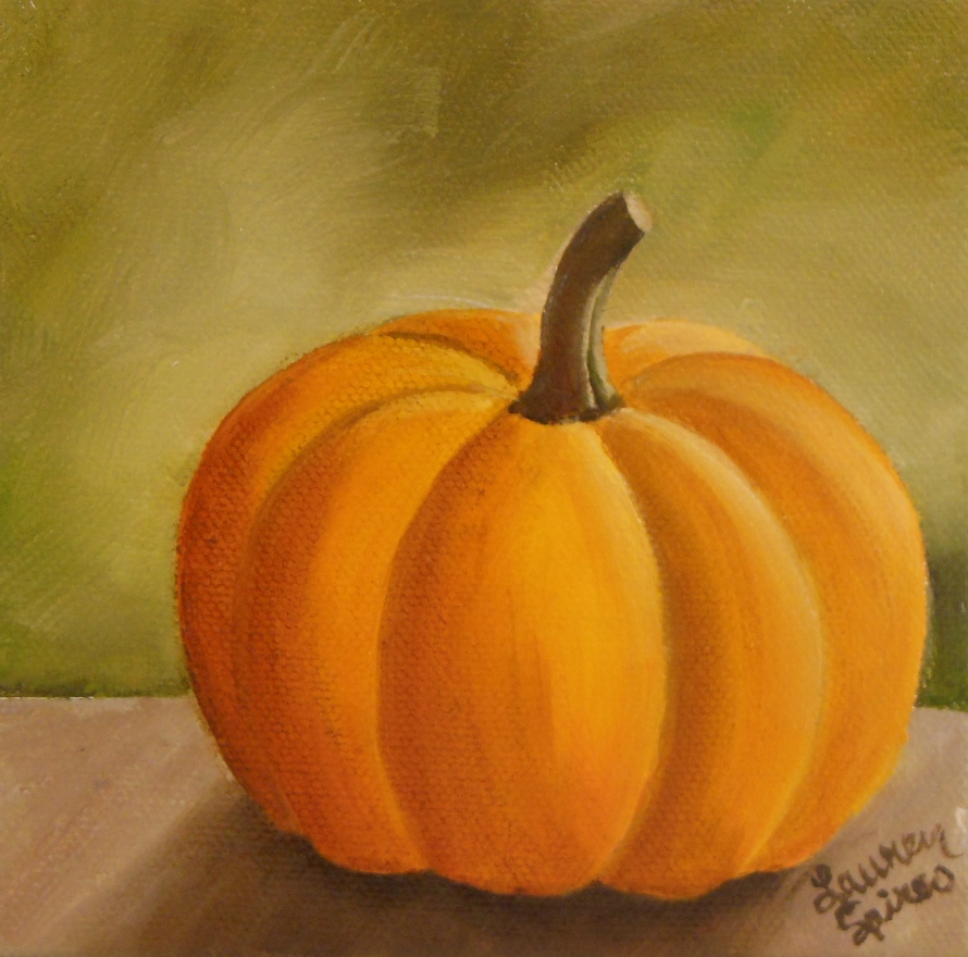 Pumpkin VI; 5x5 oil on canvas