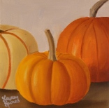 Pumpkin trio II; 5x5 oil on canvas