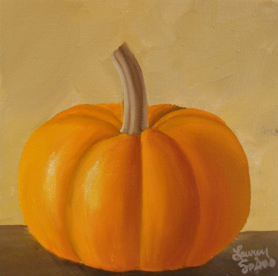 Pumpkin IV; 5x5 oil on canvas