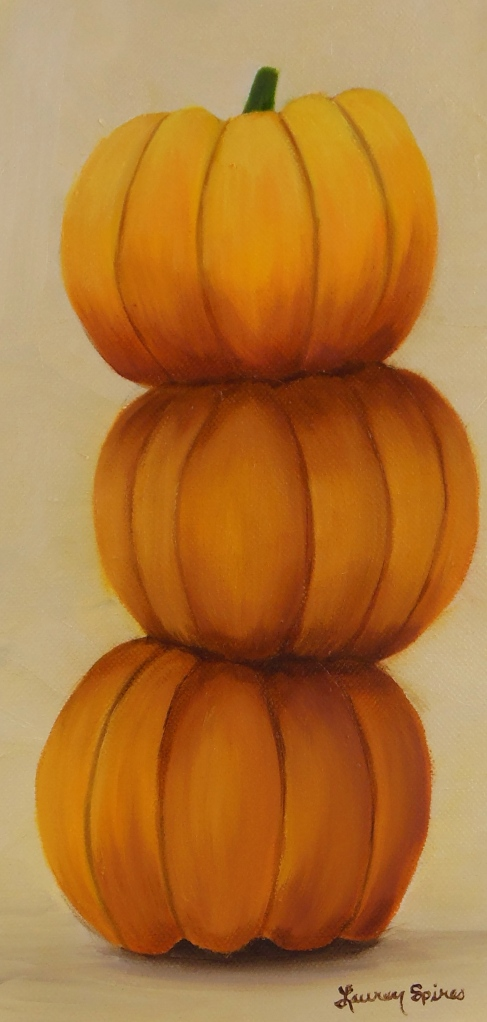 Pumpkin trio I; 6x12 oil on canvas