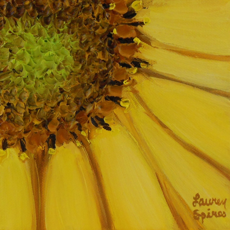 Sunflower; 6x6 oil on canvas