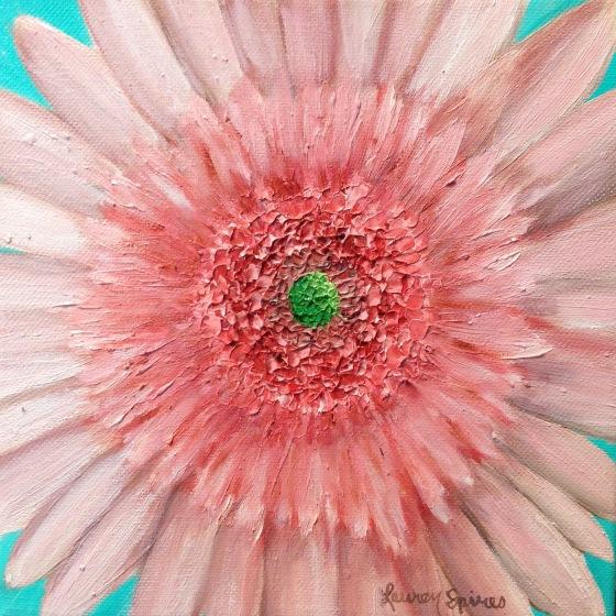 lauren spires fine art_pink gerber daisy_8x8 oil painting