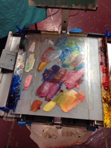 Nancy's palette after the still life demo