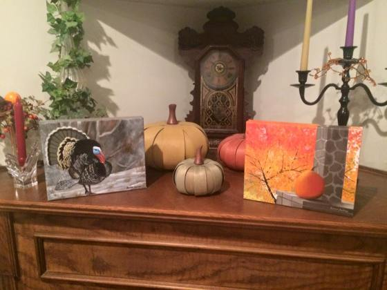 The pair of commissioned fall paintings on display in Debbie's home!