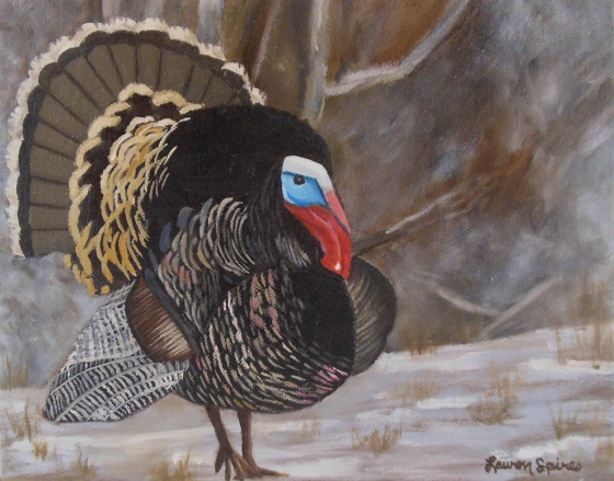 Turkey in the snow; 8x10 oil on canvas