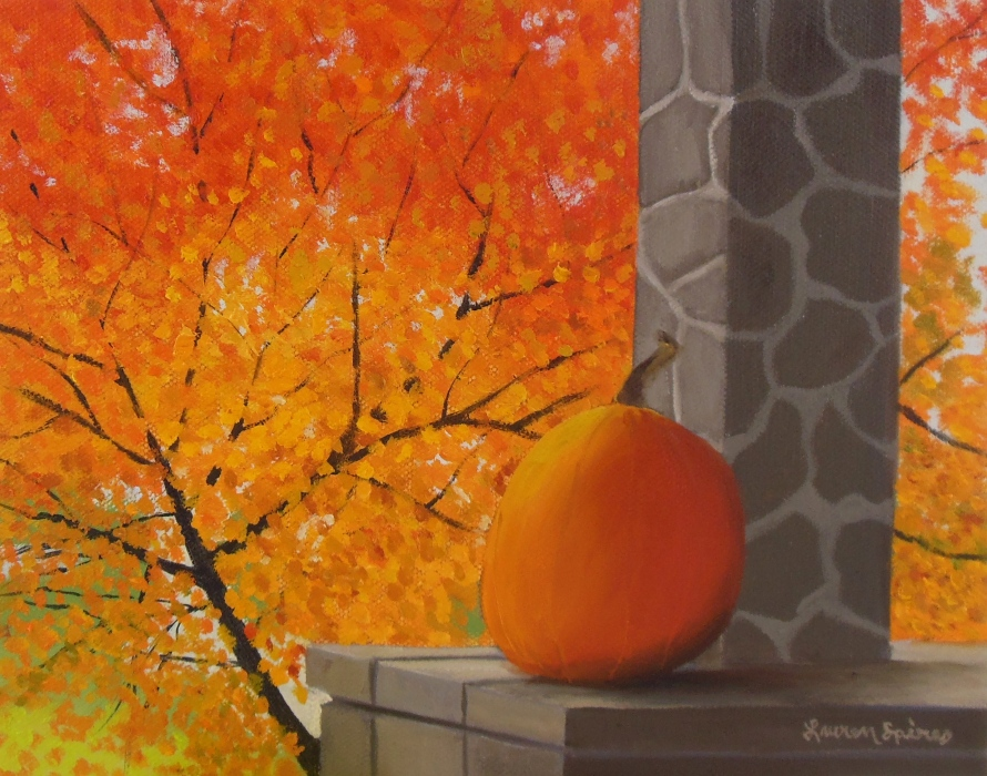 Fall Foliage and Pumpkin, 8x10 oil on canvas