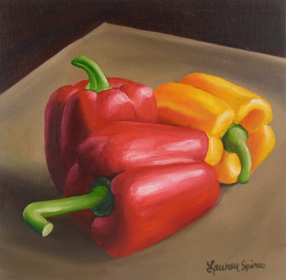 Bell pepper trio; 8x8 oil on canvas