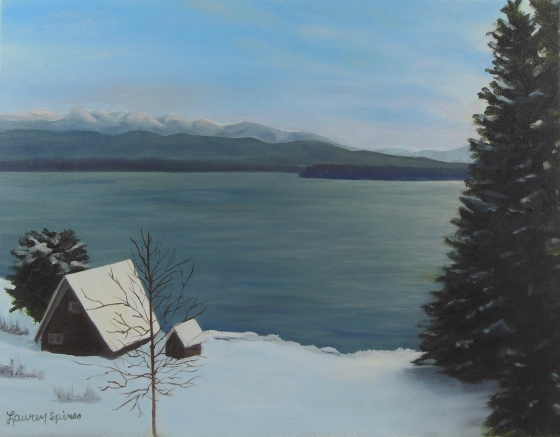 Cabin with a view; 11x14 oil on canvas