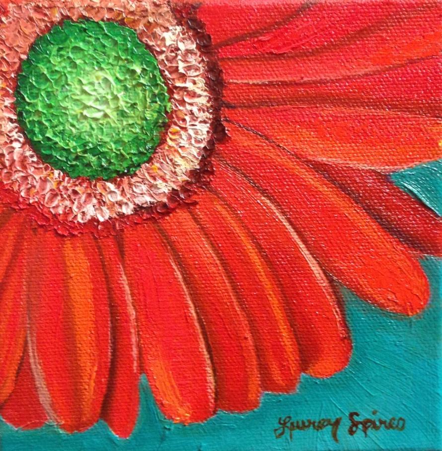 Red Daisy; 5x5 oil on canvas; SOLD