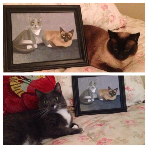 Annabelle and Graycee posing with their portrait