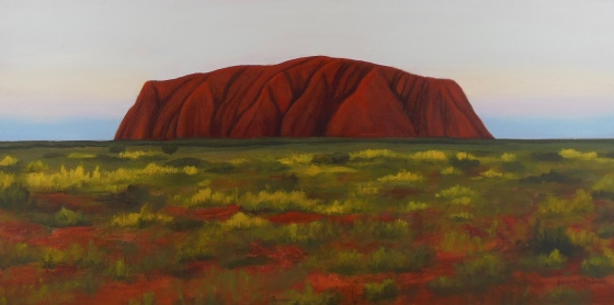Sunset over Uluru; 12x24 oil on canvas
