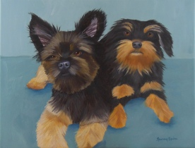 Charley and Annabelle; 11x14 oil on canvas