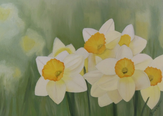 lauren spires fine art_custom painting from photo_daffodil painting_flower art