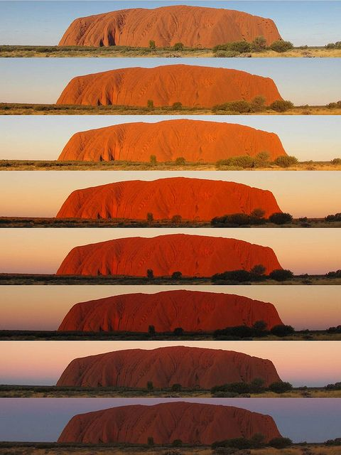 The changing colors of Uluru