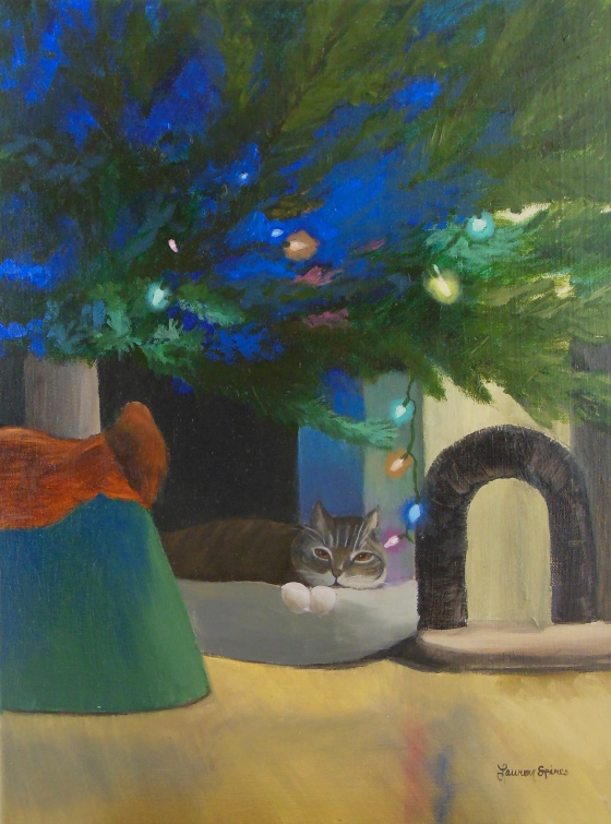 lauren spires fine art_custom painting from photo_cat christmas tree_custom pet art